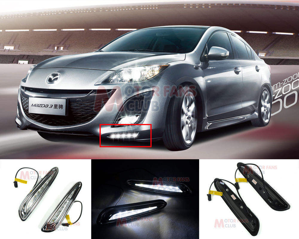 ФОТО hot sale LED Daytime Running Light For Mazda 3 Axela Car Fog Lamp DRL 2010 2011 2012 2013
