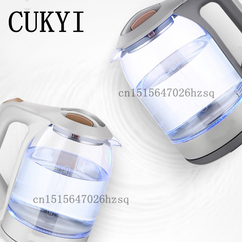 CUKYI Quick Heating Kettles Safety Auto-off household electric instant pots blue light, white khaki with Blue light cukyi stainless steel 1800w electric kettle household 2l safety auto off function quick heating red gold