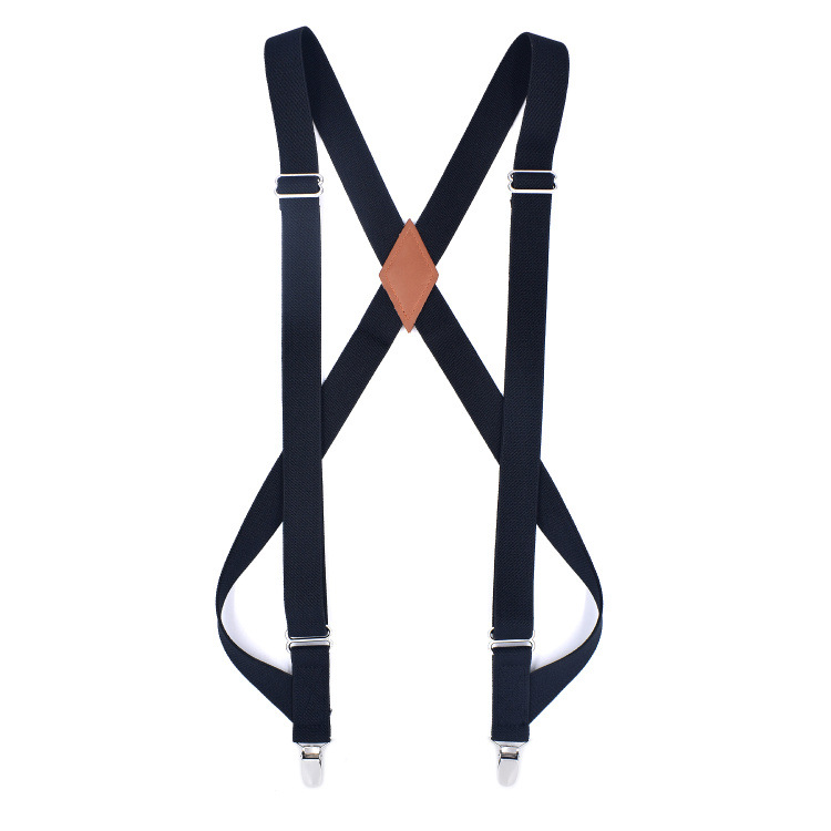 Brand 2.5 Two Clips Unisex Solid Color Strap Elastic Elastic Adjustable Strap High Quality Shirt Suspenders