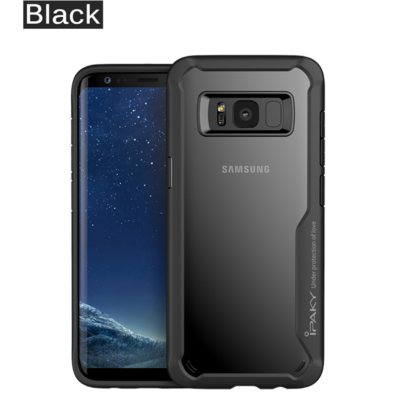 IPAKY Original Shockproof Phone Case For Samsung Galaxy S8 S9 S10 Luxury Transparent Silicon TPU Cover Case For Samsung S8 Case