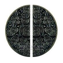 Estilo chinês antigo de madeira porta de vidro maçaneta da porta maçaneta da porta auspicioso nuvens half round maçaneta da porta de bronze