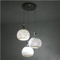 Белый ресторанный лампы подвесные светильники Керамика тенты с тремя полосками; для ношения лампа для балкона освещение прихожей Керамика