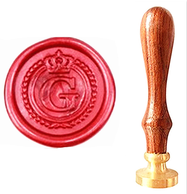 все цены на MDLG Vintage Alphabet Letter G Crown Wedding Invitations Gift Cards Wax Seal Stamp Stationary Sealing Wax Stamp Wood Handel Set онлайн