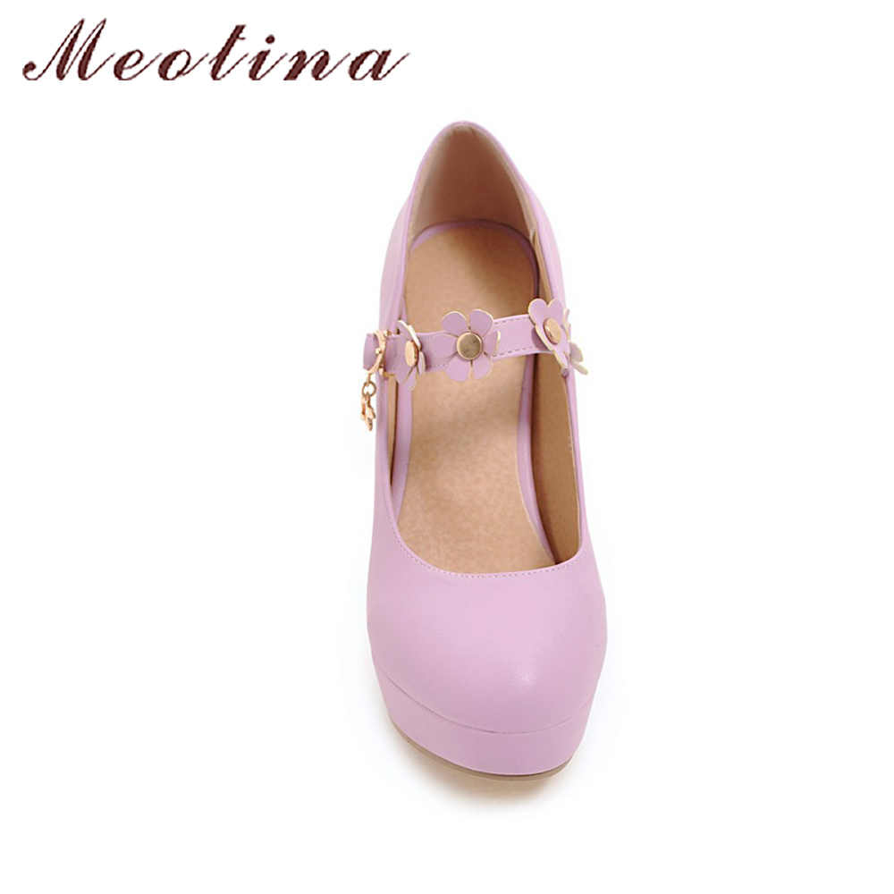 ... Meotina Women Mary Janes Shoes Platform High Heels Flower White Wedding  Shoes Buckle Strap Shoes Female ... 2ca519e40307
