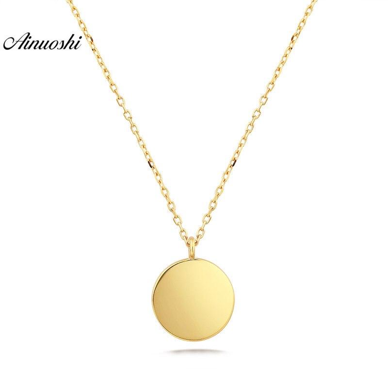 AINUOSHI 18 K collier en or massif or Rose or jaune Mini rond en forme de brossé et lisse finition pendentif bijoux de chaîne de mariage