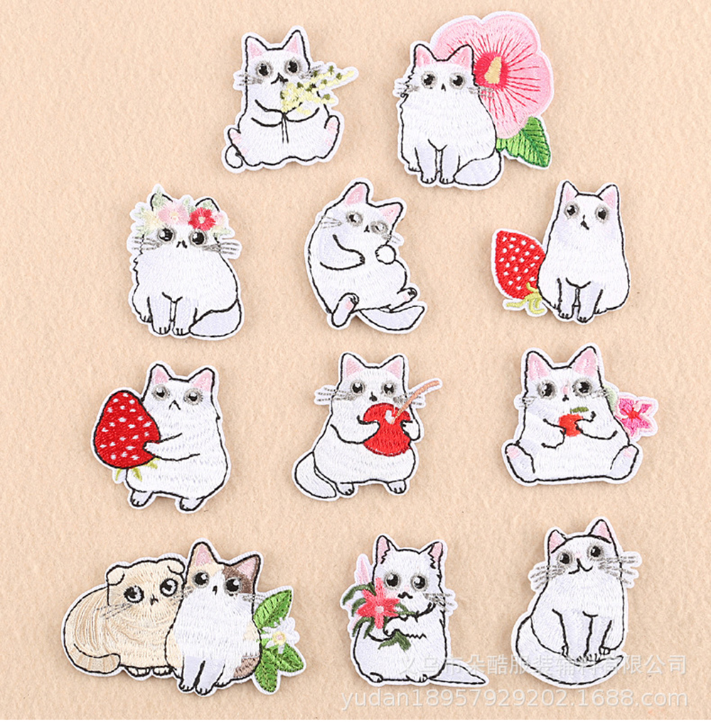 Lychee Life Cartoon Cat Sets Patches Kawaii Animal Diy Cloth