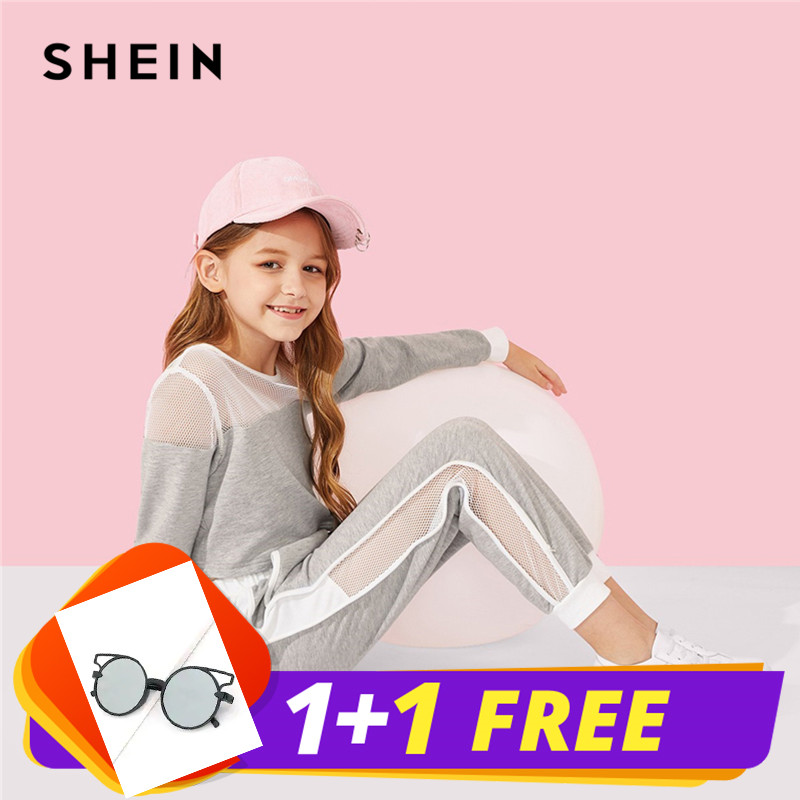 SHEIN Kiddie Grey Active Wear Mesh Top And Tape Side Pants Suit For Girls Clothing 2019 Spring Casual Kids Clothes Girl Set girls contrast tape pants