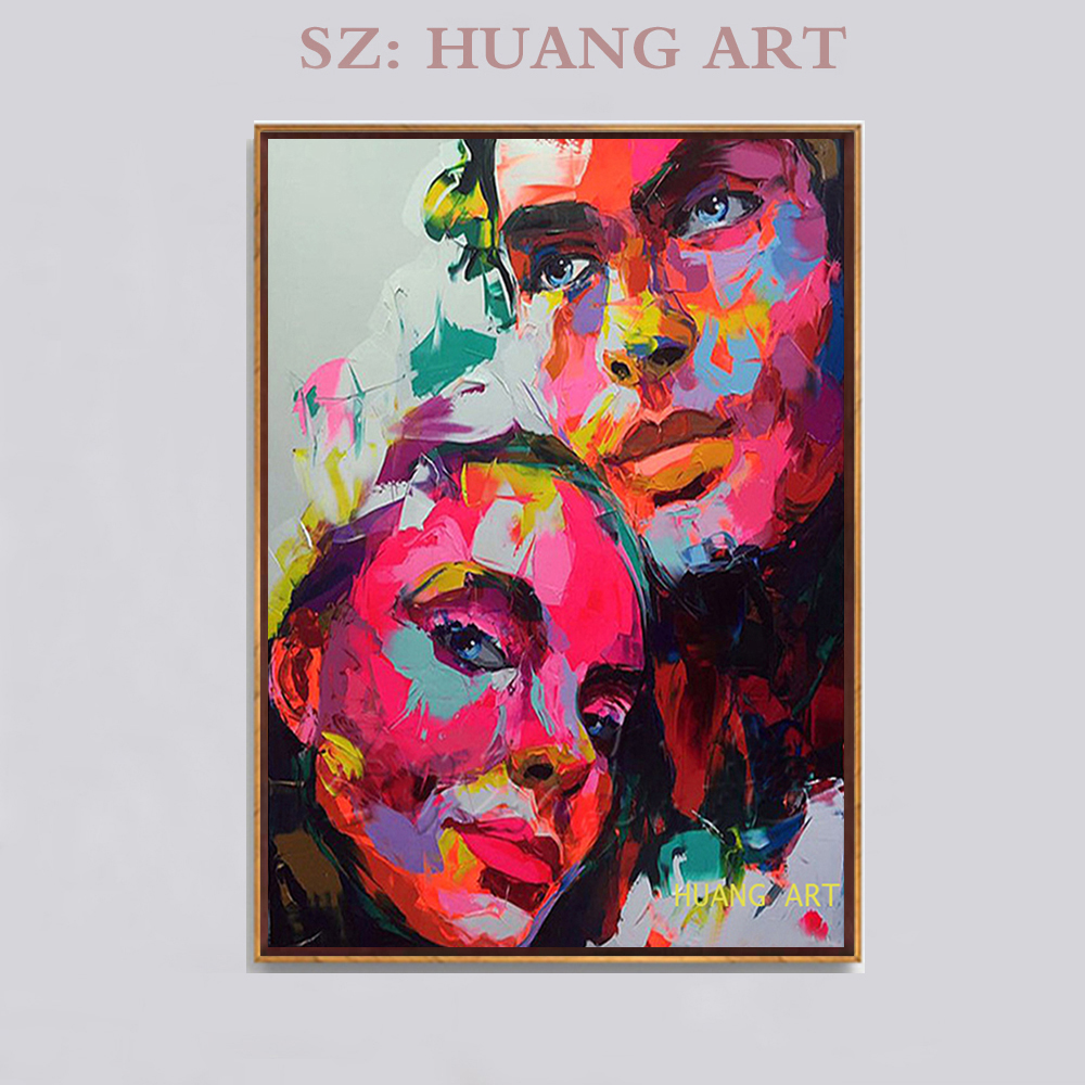 Français célèbre femme peintre style abstrait de peinture à l'huile moderne artiste dame peint à la main figure peinture couleur beauté visage