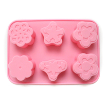 3D Flower Shape Silicone Soap Molds 6-Cavity DIY Handmade Candy Mould Cake Decorating Tools