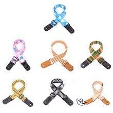 цена на Adjustable Colorful Ukulele Cotton Strap Style Belt With Leather Ends  mini Guitar Shoulder strap
