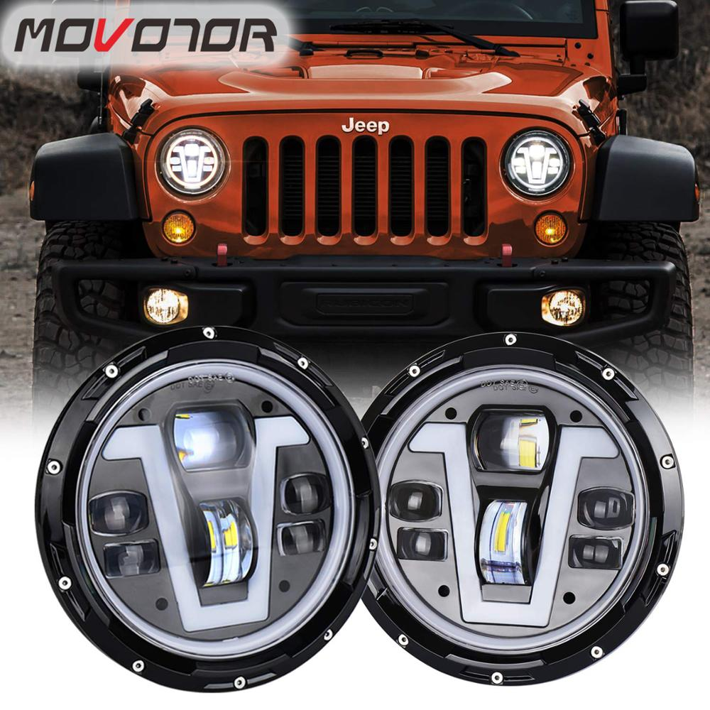 7 Inch Led Headlight Assembly V shape DRL White Color Yellow Turn Signal Lights 50W Headlamp