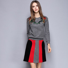 Crop Top And Skirt Set Real Cotton Full 2016 New Winter And Small Fragrant Dress Woolen Coat Skirt Two Piece Female Suits
