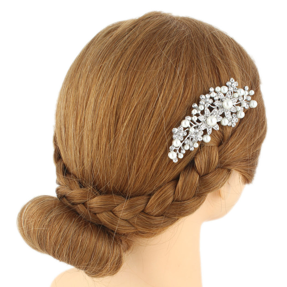 us $21.99 |bella fashion brand new simulated pearl wedding clear flower accessories bridal hair comb austrian crystal bridesmaid headpiece-in hair