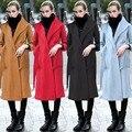2015 ropa Musulmán Islámico del abrigo de lana de las mujeres + cashmere coat plus tamaño caliente outwear mujeres Europeas Ropa Manteau
