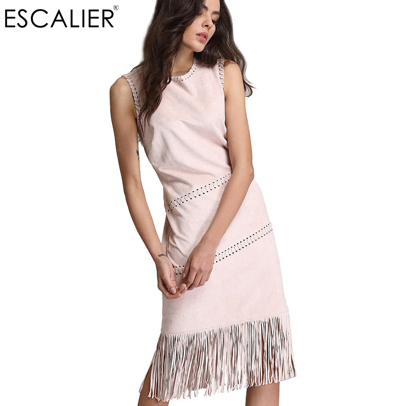 ESCALIER Free Shipping Design Vintage Print Embroidery O neck Sleeveless A Line