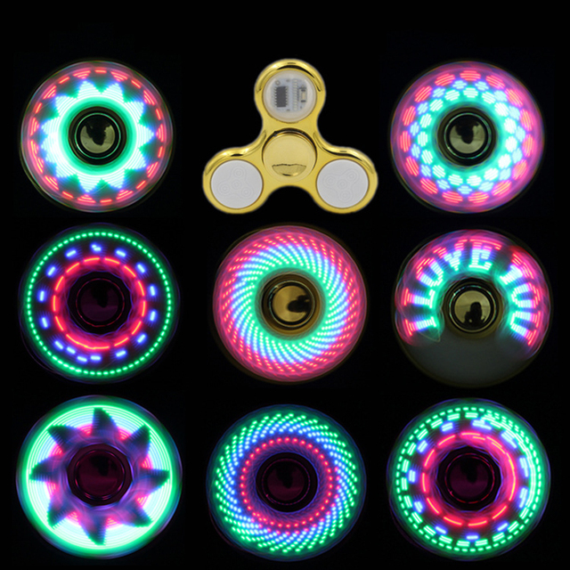 Plating Luminous Fidget Spinner LED Flash Light Various Patterns Change Smooth Hand Spinner Gyro Glow in the Dark Stress Relief