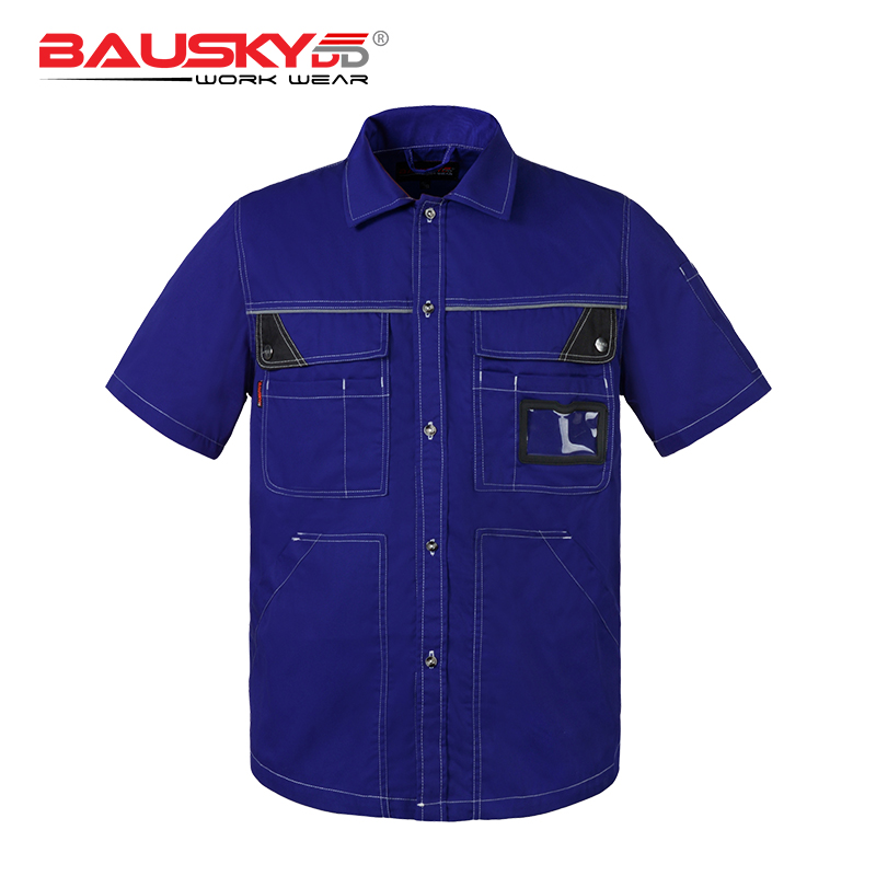 Bauskydd Work wear Mens Women Summer Work Shirt Short Sleeves With Button Extra Large Size Blue Grey button up two tone work shirt