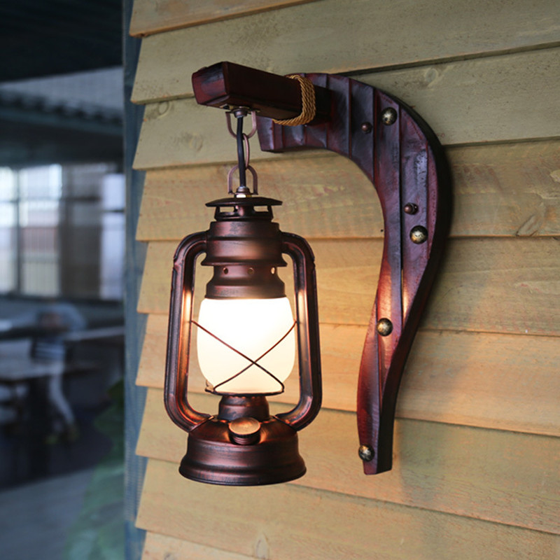 Chinese Antique Retro LED Wall Lamp Balcony Kerosene Lamp Style Vintage Wall Light Lantern for Bar Cafe Home Lighting Fixtures 18cm bohemian style red bronze colour crystal led wall lamp vintage wall light cafe bar store hall coffee shop aisle lighting