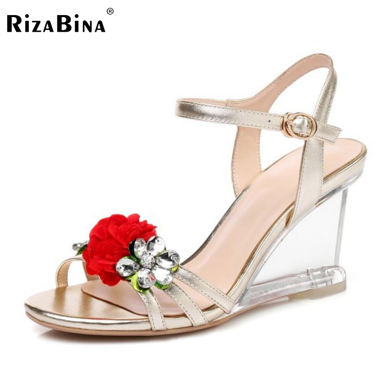 RizaBina Elegant Women Real Genuine Leather Wedges Sandals Flower Beading Ankle Strap Wedges Sandals Summer Shoes Size 34-39 sandals women flower beading summer flip