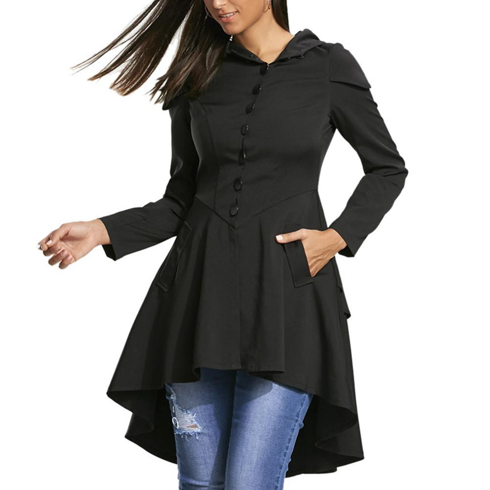 MISSKY New Autumn Winter MISSKY Halloween Women   Trench   Hooded Coat Solid Color Lace Up High Low Dip Hem Top