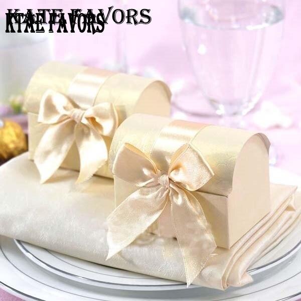 ▻Beige cajas del Favor boda Popular Cofre del Tesoro cajas del ...