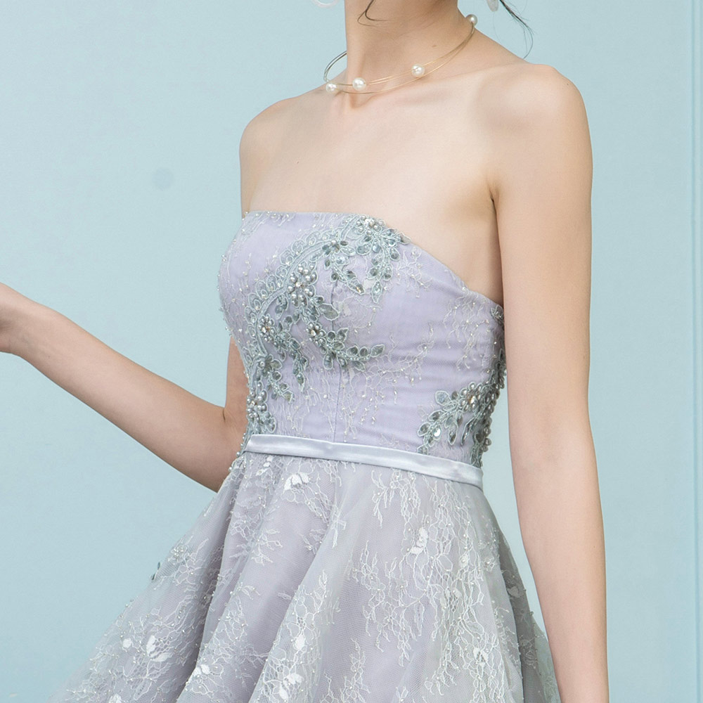 8748e70e55f BeryLove Short Knee Length Grey Lace Prom Dresses 2018 Sliver Strapless  Prom Gowns Special Occasion Party Dress Graduation -in Prom Dresses from  Weddings ...
