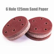 20 pçs/set 125mm 6 furos 80/120/180/240/320 grão disco lixa gancho aleatório discos de papel de areia laço areia grão areia