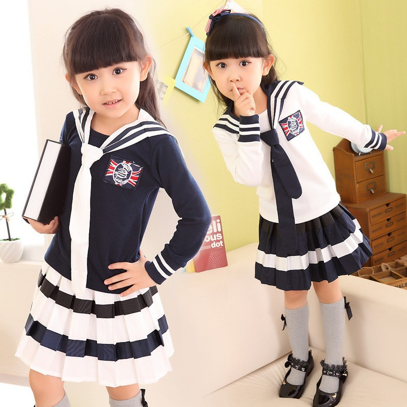 Kids Girls Dress Set for Spring Autumn Girls Clothing Set 2 pcs Long Sleeve T-shirt & Stripe Skirt Set Girl School Wear Outfits 2017 new style spring autumn hoodie baby girl clothing set sequin lace long sleeve velour sports jacket long trousers outfits