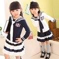 Kids girls dress set para niñas otoño primavera ropa set 2 piezas de Manga Larga Camiseta y Falda de La Raya Set Desgaste de La Escuela Niña trajes