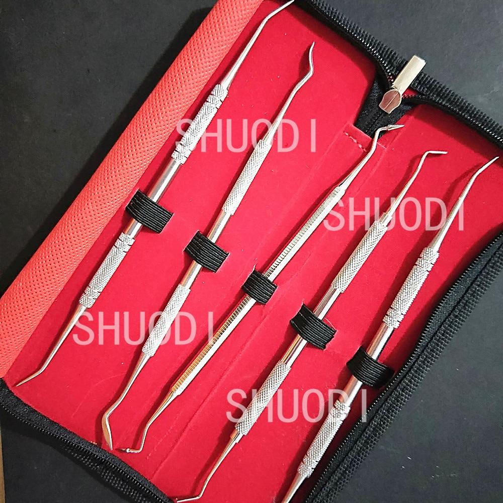 5 Pcs Set Dental Composite Filling Spatula Tool Carving Tool Stainless Steel Dental Instrument Dental Lab Laboratory Equipment