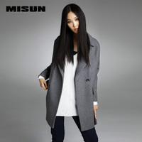 MISUN Suit Thicken Woolen Turn Down Collar Single Breasted Overcoat Womens Woolen Wide Waisted Winter Long