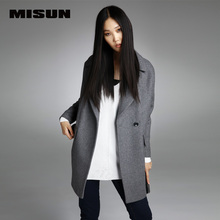 MISUN 2017 winter jacket women suit thicken woolen turn-down collar single breasted wide-waisted long mantle type outerwears