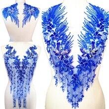 V образным вырезом Королевский синий бисером пришить Diy Кристалл Камень Стразы патч для шитья одежды Аппликации нашивки одежда свадебный костюм