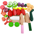 Regalo de navidad Casa de Juego Magnético de Los Niños Juguetes de Cocina Kit De Corte De Madera de Simulación de Alimentos Vegetales, Frutas Sandía Bebé Juguetes