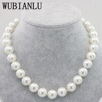 WUBIANLU 14 мм черное Белое море Южная раковина жемчужное ожерелье 18 дюймов магнитная пряжка модные женские ожерелья бижутерия