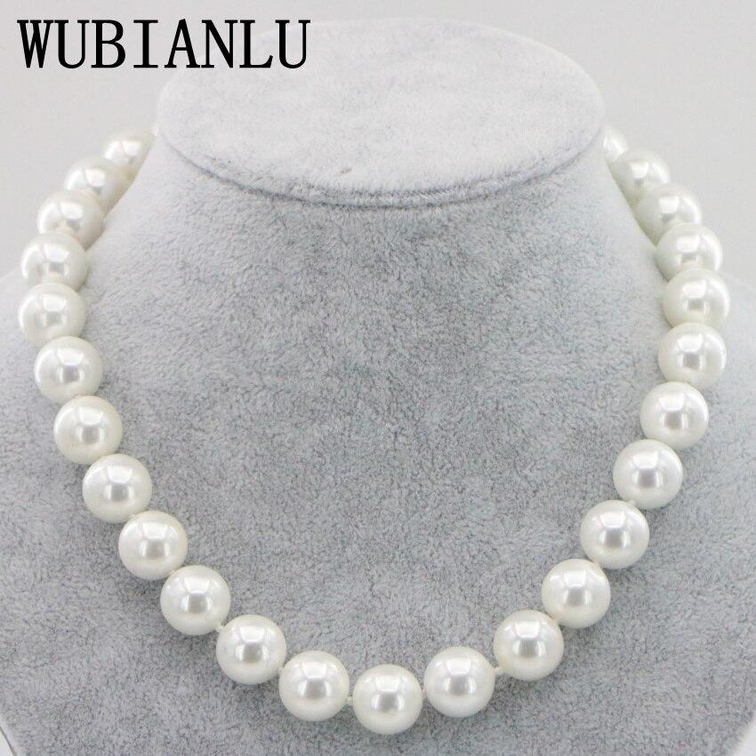 WUBIANLU 14mm Schwarz Weiße Meer Süd Shell Perlenkette 18 Zoll Magnetische Schnalle Mode frauen Schmuck
