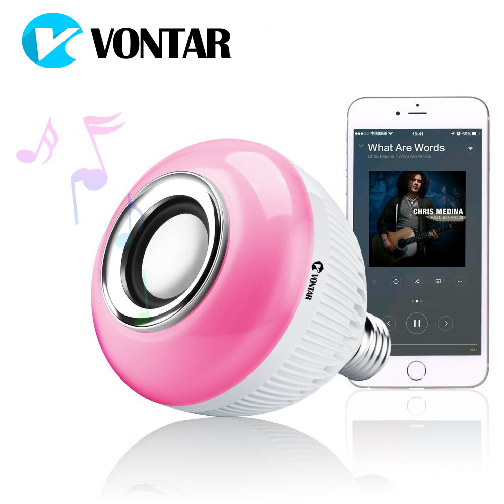 VONTAR RGB Wireless Bluetooth Speaker Bulb Music Playing Energy Saving RGB Soptlight E27 LED Light Lamp With Remote Control
