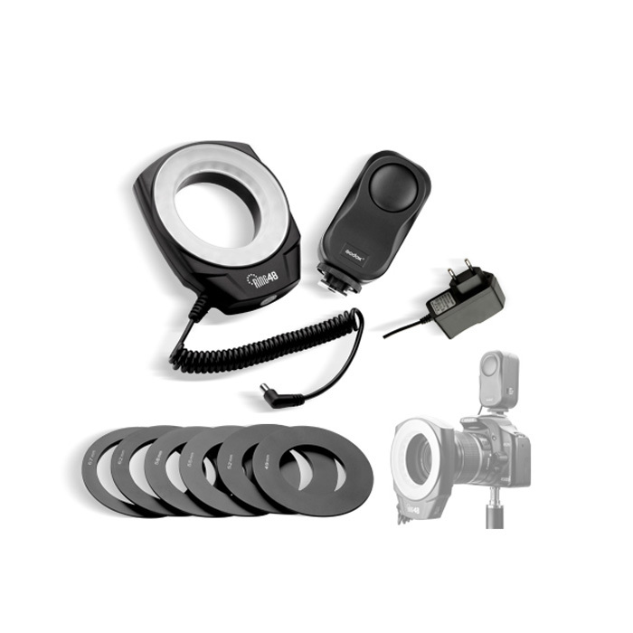 Godox Ring 48 LED Macro Ring Flash Video Light for Canon Nikon Sony Pentax digital cameras With Six Lens Adapter godox professional led video light