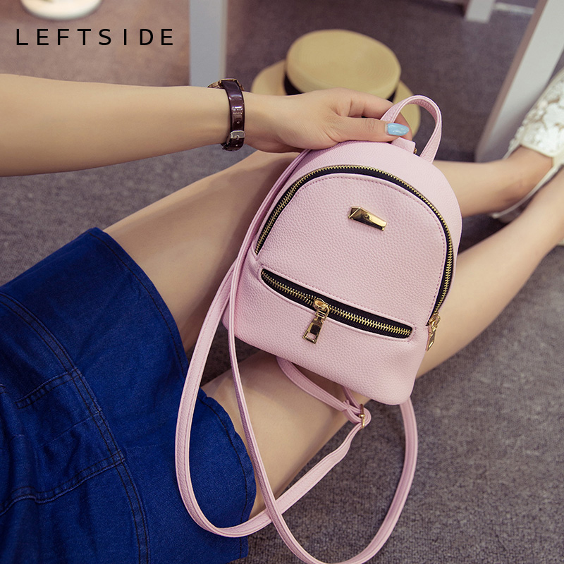 цены LEFTSIDE 2017 Women Leather Backpack children backpack mini backpack women cute back pack backpacks for teenage girls small bag