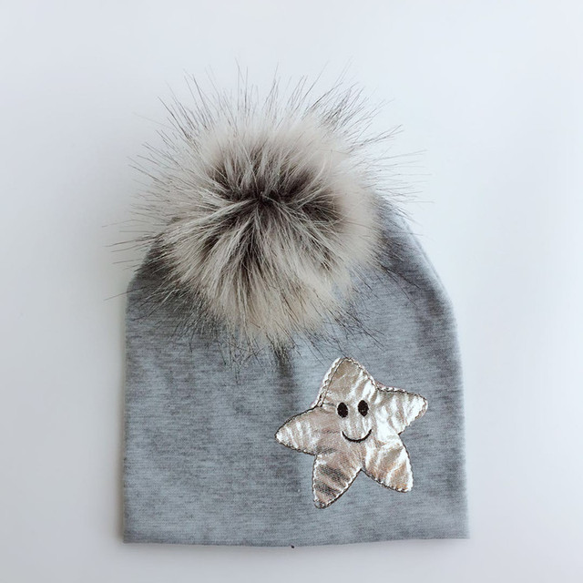 55afe93b6c0 emoji spring Toddler infant baby silver star cotton raccoon faux fur  cartoon pom pom hat cap skullies for girls and boy kid