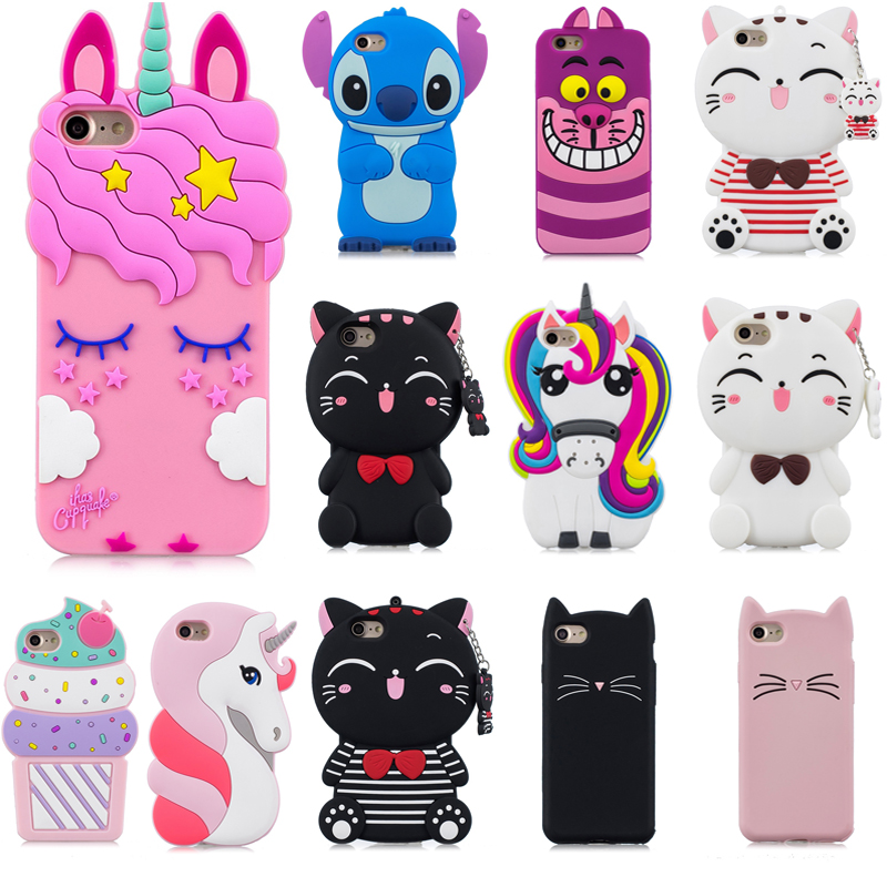 3D Cartoon Pink Unicorn Beard Cat Phone Silicone soft Case Cover For Huawei P8 Lite  P8 Mini 5.0 Cases Gel Shell