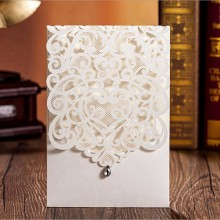 100pcs Vertical Ivory White Elegant Engagement card / Wedding Invitation Custom With Rhinestone & Laser Cut Flower,CW5001