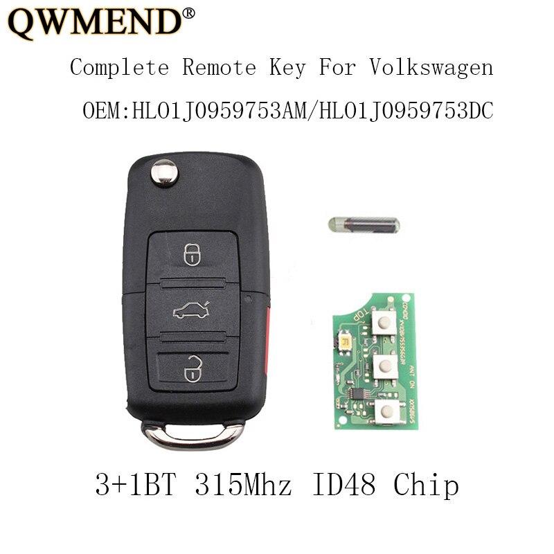 2002 Volkswagen Jetta Key: QWMEND 3+1Buttons 315mhz Remote Key Fob For VW Jetta