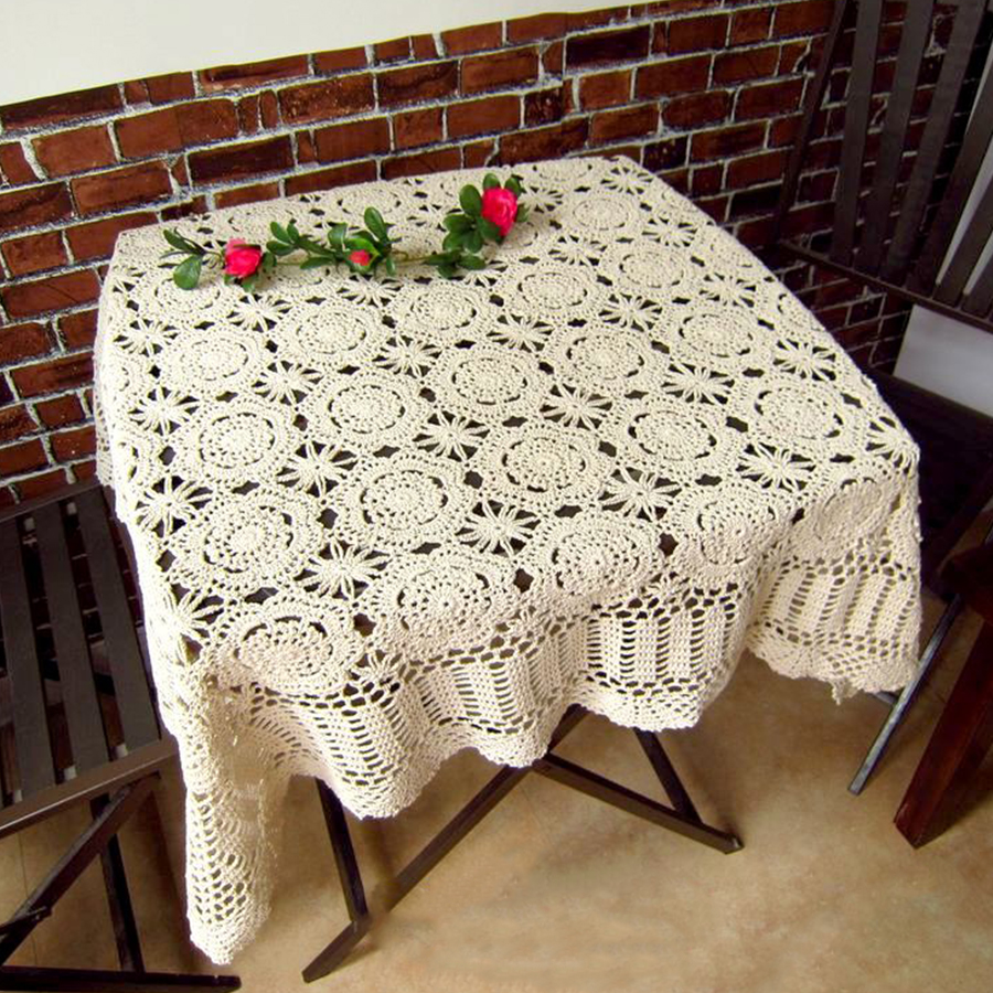 IBANO Handmade Crochet Coasters Cotton Table Cloth Cup Mat Placemat Vintage Crocheted Tablecloth