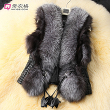 Plus Size Black Autumn Spring and Winter High Imitation Faux Fox Fur Vest Gilet Outerwear Women's Coat OLA Free Shipping