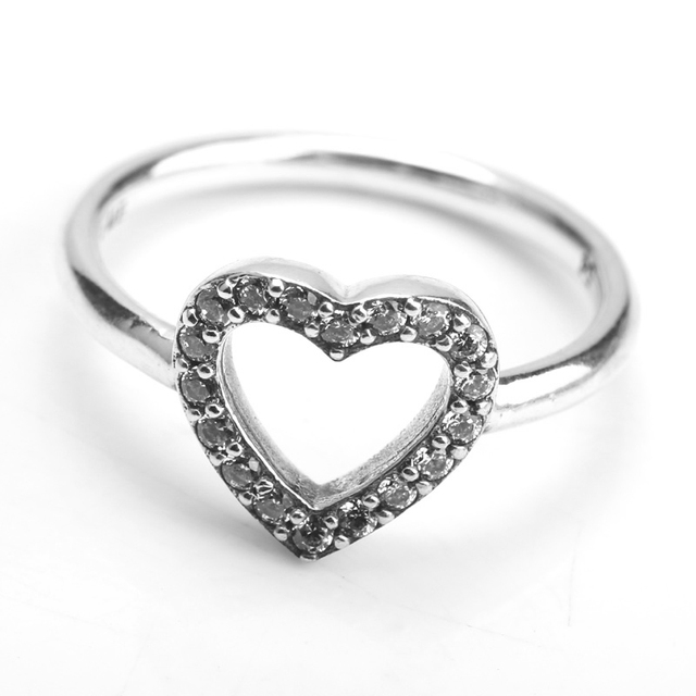 Hot Sale Real 925 Sterling Silver Puzzle Heart Frame Ring, Clear CZ For Women Wedding Ring Fine Jewelry