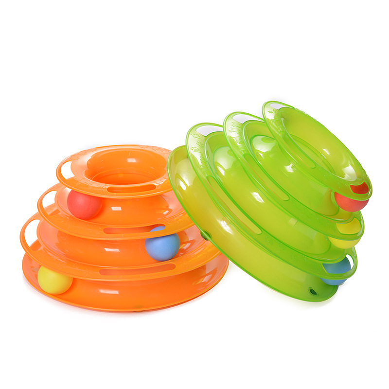 Plastic Cats Green Orange Three Levels Tower Tracks Disc Cat Toy Amusement Shelf Play Station For Cat Ball Toys Pet Products