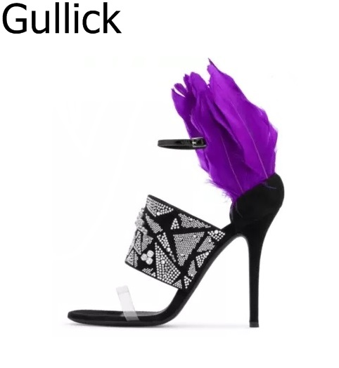 Women Hot Sale Crystal Decoration Ankle Buckle Strap Hollow Out Sandals Sexy Purple Feather High Heel Party Shoes Free Shipping hot sale women gold leather ankle buckle strap platform sandals summer hollow out open toe high square heel party shoes
