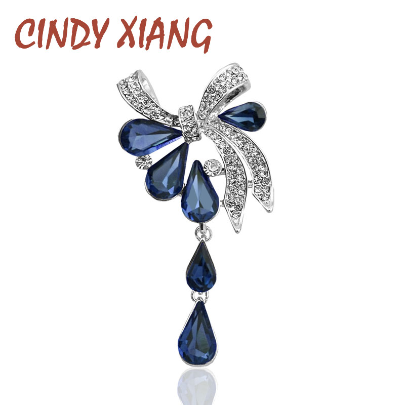 CINDY XIANG New Arrival Fashion Bow Brooches for Women Rhinestone Water-drop Style Brooch Pin 3 colors Available Summer 2021 1