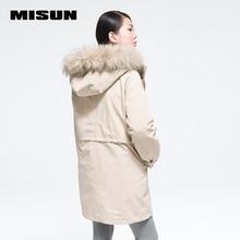 Misun 2016 осенью и зимой женщин утолщение шерсти воротник тонкая талия средней длины вниз пальто установить женский